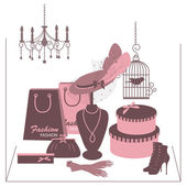 Sklepu sklep z akcesoriami kobiet. — Wektor stockowy