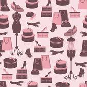 Retro mode naadloze patroon met vrouwen accessoire. — Stockvector