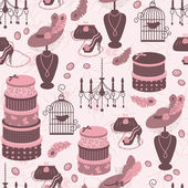 Retro fashion seamless pattern with women accessory. — Vector de stock
