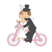 Wedding couple ride on a bicycle — Stock Vector