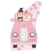 Wedding couple on car driving to their honeymoon. — Stock Vector
