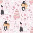 Wedding seamless pattern - Stok Vektör