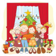 Stock Vector: Christmas. Happy family together