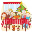 Stock Vector: Christmas dinner.Big happy family together.