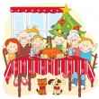 Christmas dinner.Big happy family together. - Stock Vector