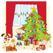 Christmas illustration. Kids opening gifts. — Stock Vector