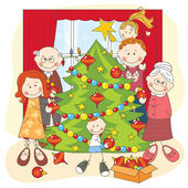 The big happy family dress up a Christmas tree. — Stock Vector