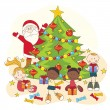 Christmas celebration. Santa and children. — Stock Vector