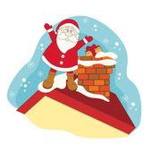 Santa on a roof house. — Stock Vector