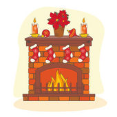 Christmas decoration fireplace. — Stock Vector