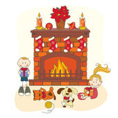 Celebración de la navidad. los niños y mascotas. — Vector de stock