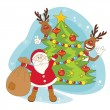 Santa greeting you a Merry Christmas. — Stock Vector