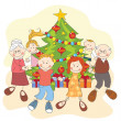 Royalty-Free Stock Vector Image: Christmas. Happy family dancing together.
