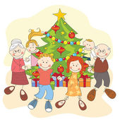 Christmas. Happy family dancing together. — Stock Vector
