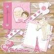 Valentine greeting scrapbook card - Stock Vector