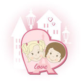 Romantic couple — Vector de stock