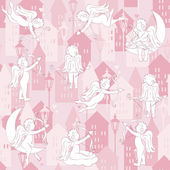 Love seamless pattern with cupid — Stock Vector