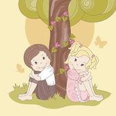 Couple teens under tree — Stock Vector