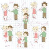 Set of couple teens on sheet of school notebook — Stock Vector