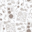 Vector de stock : Retro music equipment seamless pattern
