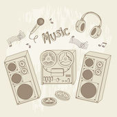 Retro music equipment. — Stock Vector