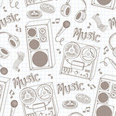 Retro music equipment seamless pattern — Stock Vector