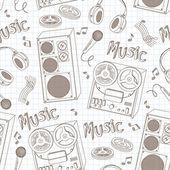 Retro music equipment seamless pattern — Stock Vector