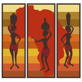 Triptych of african american woman — Stock Vector