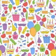 Colorful birthday seamless pattern. — Stockvectorbeeld