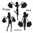 Silhouettes of fashion women — Stock Vector