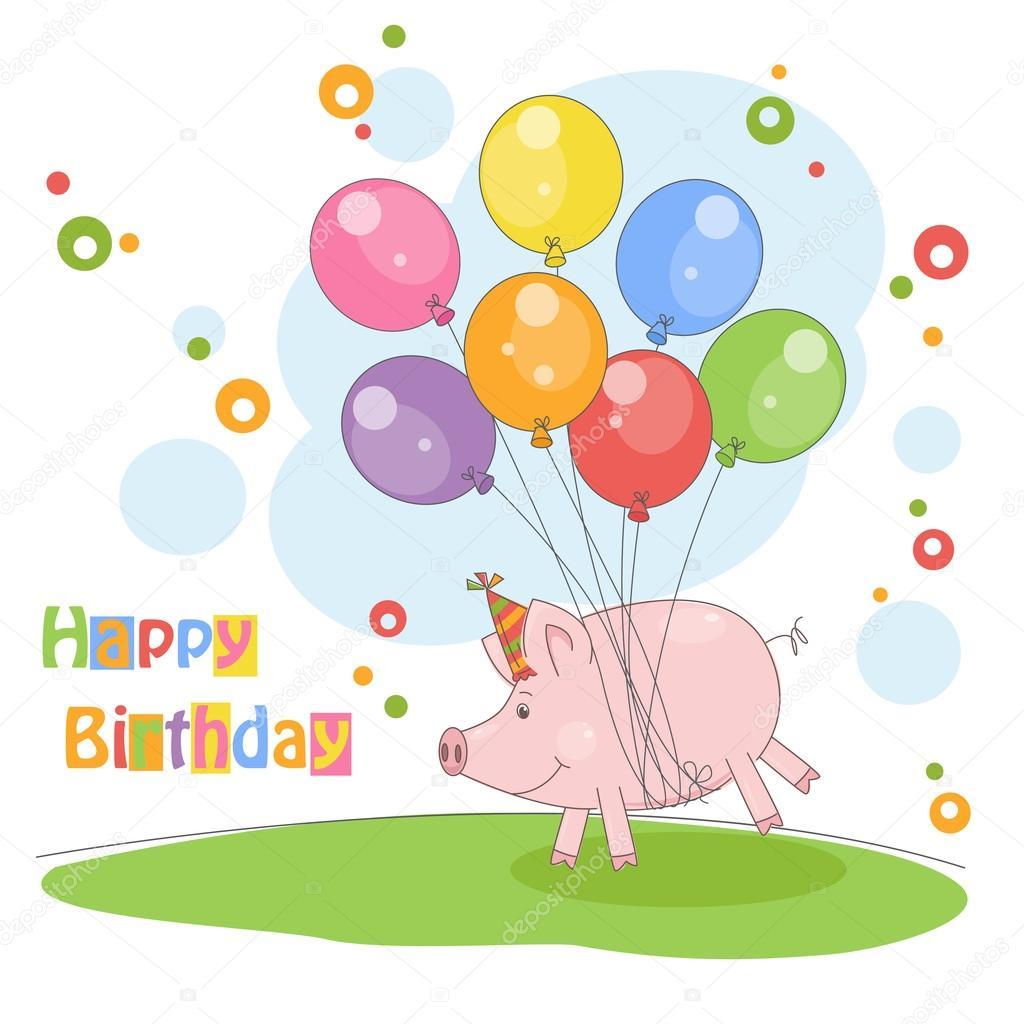 Открытки с днем рождения со свинками
