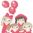 Cute little girls. — Stock Vector #26268277