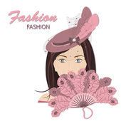 The fashionable young lady — Stock Vector