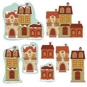 Set of retro houses — Stock Vector