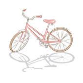 Retro pink bicycle — Stock Vector