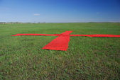 Red cross on the grass — Stock Photo