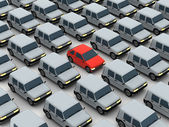 Unique model. Red car between gray cars — Stock Photo