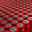 Rows of red alkaline batteries (AA) — Stock Photo #42040809