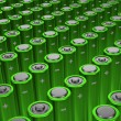 Rows of green alkaline batteries (AA) — Stock Photo #42040863
