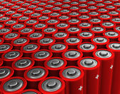 Rows of red alkaline batteries (AA) — Stock Photo