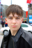 Sad teenager on the street — Stock Photo