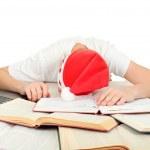 Student sleep in santa — Stock Photo