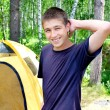 Teenager in the Camp - Stock Photo