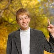 Boy with finger up — Stock Photo #1793855