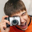 Teenager With Photocamera - Stock Photo