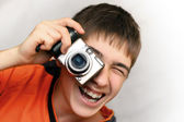 Teenager With Photocamera — Stock Photo