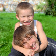 Kid And Teenager In The Park — Stock Photo