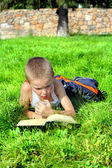 Little Boy Reads Book — Stock Photo