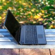 Laptop On The Bench Outdoor - Stock Photo