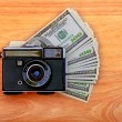 Vintage Camera And Money — Stock Photo